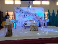 reception decoration for bride and groom