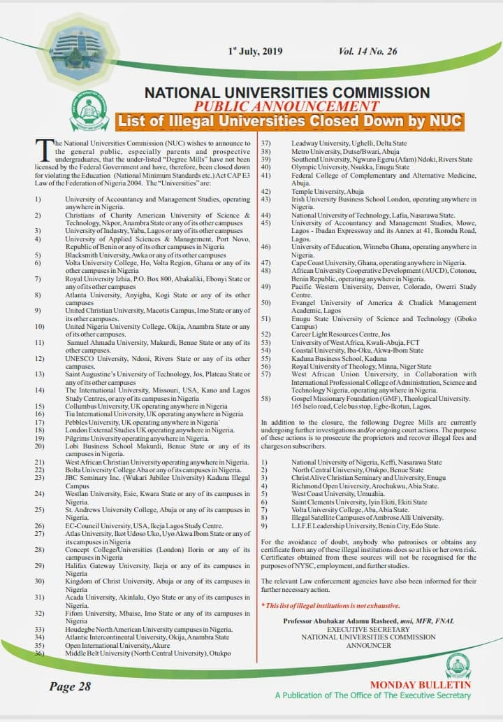 list of universities closed by NUC